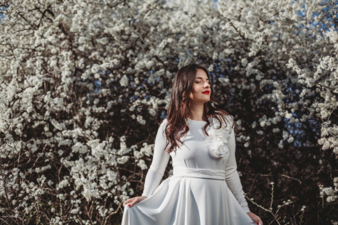 white, dress, beautiful, posing, young woman, pretty girl, branches, spring time, portrait, tree
