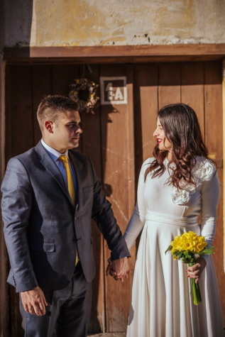 bride, smiling, looking, happiness, partners, front door, standing, groom, marriage, suit