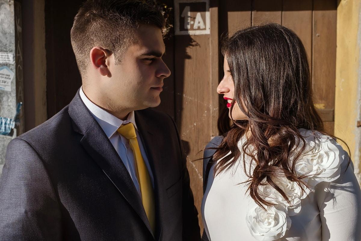Liebe, Gesicht, paar, Gentleman, Porträt, Romantik, Mann, Geschäftsmann, Frau, Unternehmen