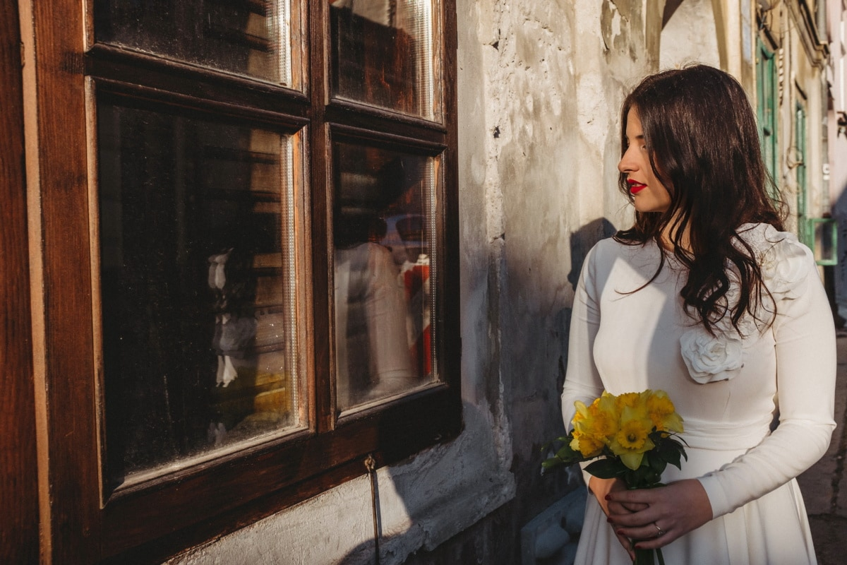 lady, young woman, pretty, street, window, house, dress, walking, facade, decay
