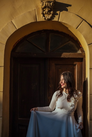 girls, posing, wedding dress, front door, entrance, building, architecture, woman, girl, wedding
