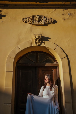 front door, smiling, facade, pretty girl, young woman, architecture, building, people, woman, door
