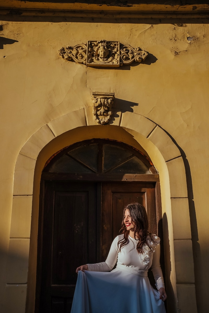 posing, gorgeous, girl, architecture, wedding, building, woman, people, door, bride