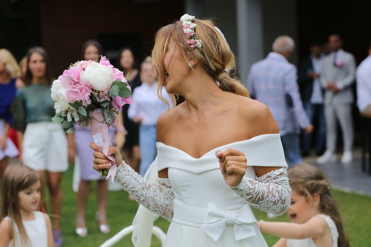 mariage, amour, couple, bouquet, la mariée, robe, gens, femme, cérémonie, enfant