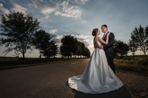 groom, road, bride, alone, standing, sunset, sunlight, hugging, girl, love