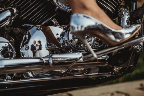 chrome, metallic, motorcycle, engine, shoes, sandal, reflection, man, pretty girl, classic