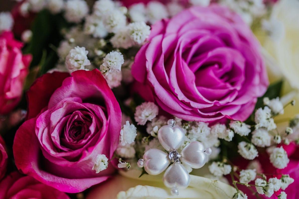 bouquet de mariage, perle, bijoux, fermer, bouquet, arrangement, fleur, romance, mariage, décoration
