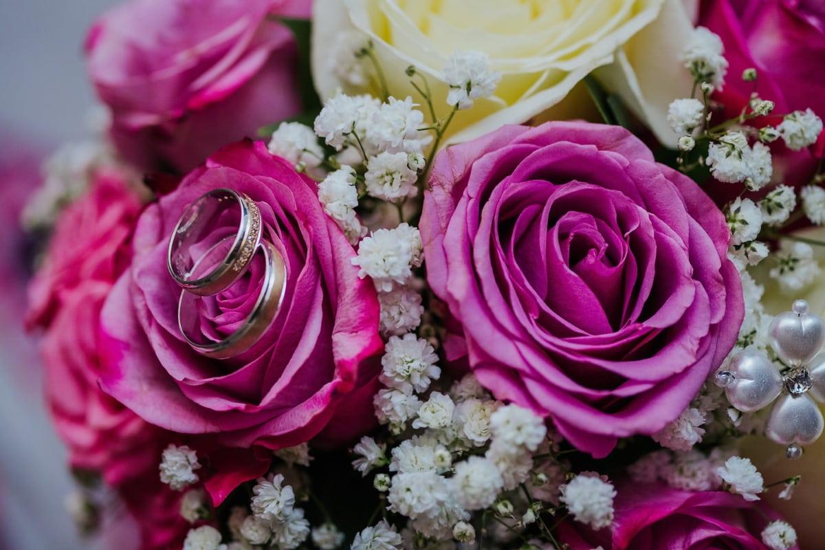 bouquet de mariage, bague de mariage, éclat doré, brillante, bijoux, bouquet, amour, fleur, romance, Rose