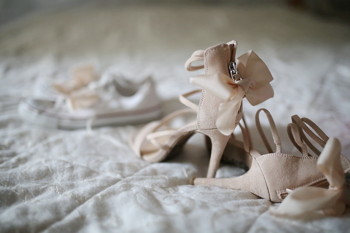 heels, sandal, vintage, elegant, bed, cotton, shoes, footwear, fashion, still life