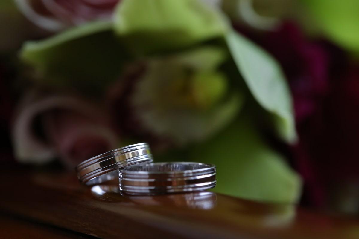 lueur dorée, fermer, anneaux, macro, brouiller, nature morte, mariage, feuille, amour, table