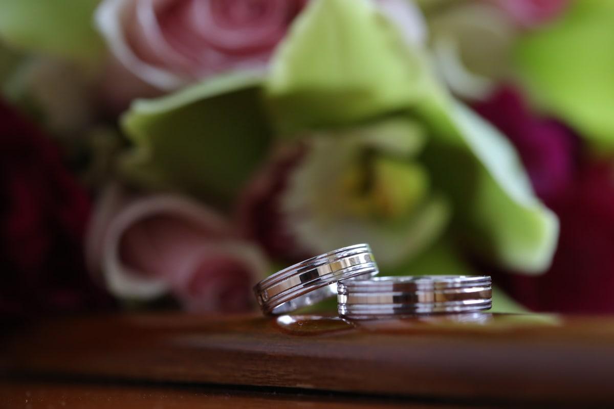 bague de mariage, anneaux, Or, lueur dorée, Metal, bijoux, mariage, nature morte, fleur, à l'intérieur