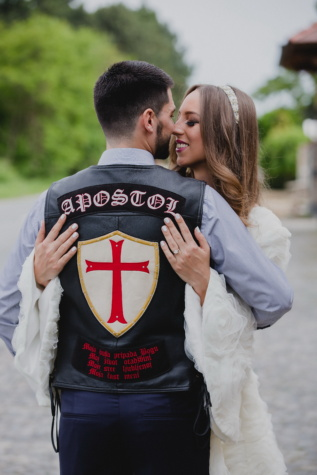 groom, motorcyclist, bride, hugging, kiss, love, woman, wedding, man, people