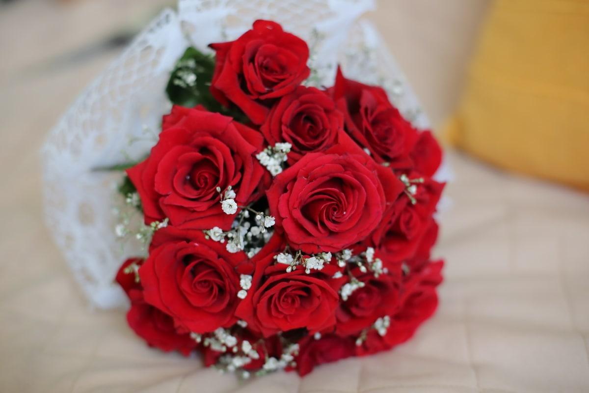 red, roses, bouquet, arrangement, decoration, love, rose, flower, romance, marriage