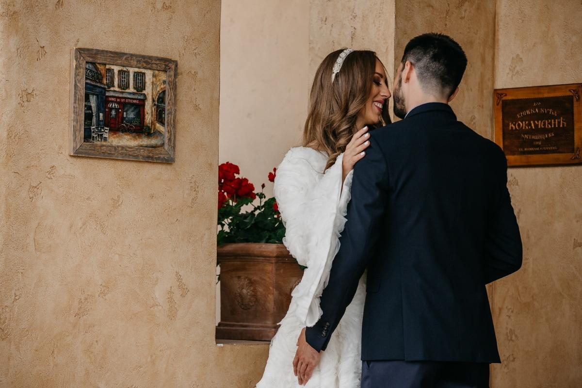 petite amie, amour, petit ami, baiser, jeune marié, romantique, la mariée, souriant, affection, femme