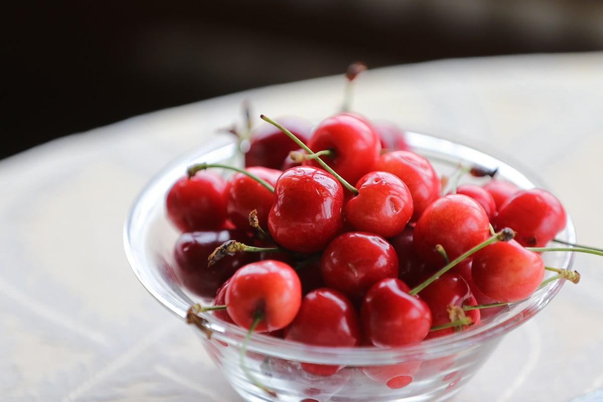 bowl, crystal, cherries, reddish, fruit, delicious, dessert, sweet, diet, fresh
