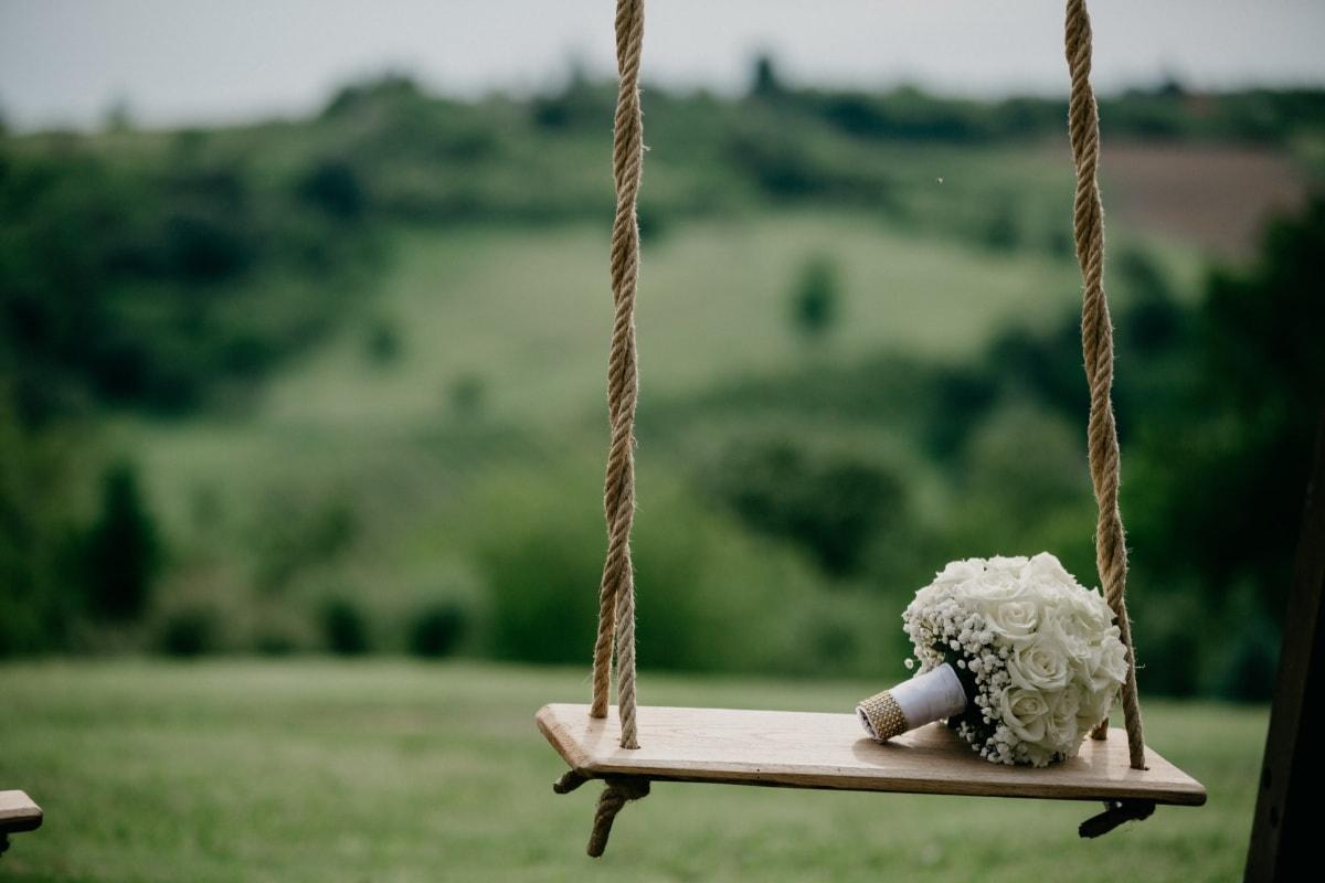 Schaukel, Rosen, Hochzeitsstrauß, Hügel, im freien, Gleichgewicht, hängende, Seil, Holz, Natur