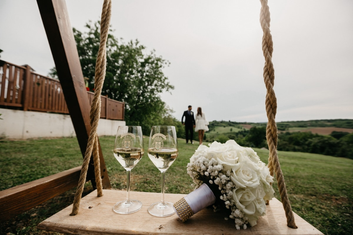 elegant, champagne, crystal, glass, white wine, girlfriend, boyfriend, countryside, romantic, love