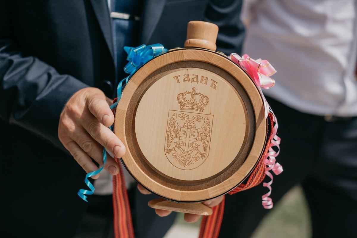 famille, héraldique, symbole, Serbie, bouteille, en bois, fait main, Retro, femme, bois