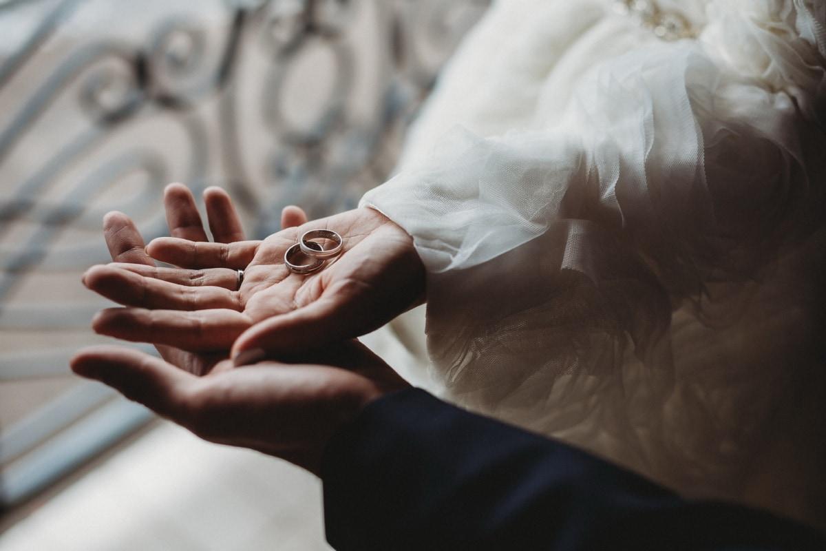 Tippen Sie auf, Hände, Gold, Ehering, Hochzeitskleid, Braut, Frau, Hochzeit, Bräutigam, Mädchen