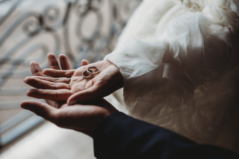 atingere, mâinile, aur, inel de nunta, rochie de mireasă, mireasa, femeie, nunta, mirele, fată