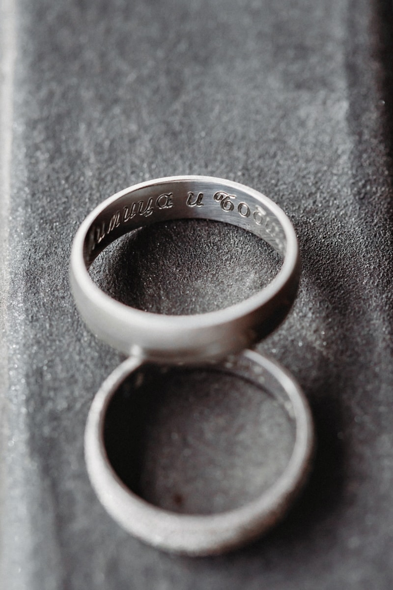 handmade, wedding ring, carvings, monochrome, platinum, gold, coffee, love, metallic, elegant