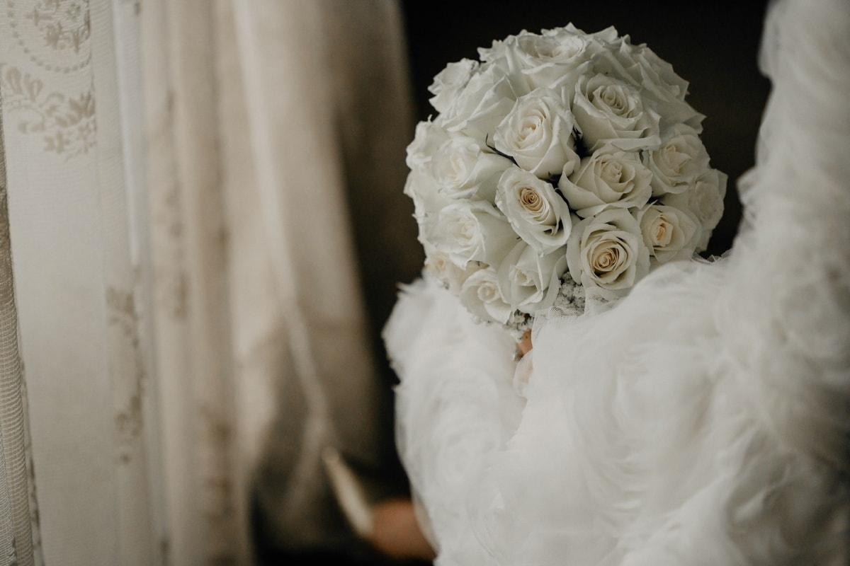 white flower, roses, bouquet, wedding dress, romantic, bride, love, wedding, decoration, arrangement