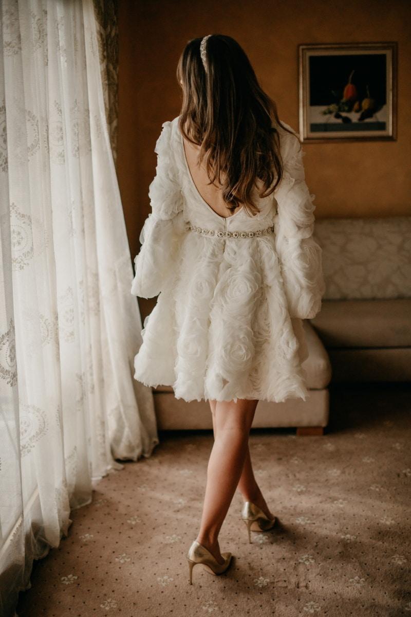 pretty, wedding dress, salon, standing, gorgeous, posing, curtain, pretty girl, coat, wedding