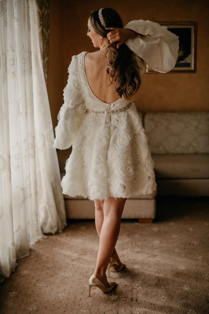 sandale, robe de mariée, chaussures, Salon, la mariée, jeune femme, Jolie fille, debout, jambes, charme