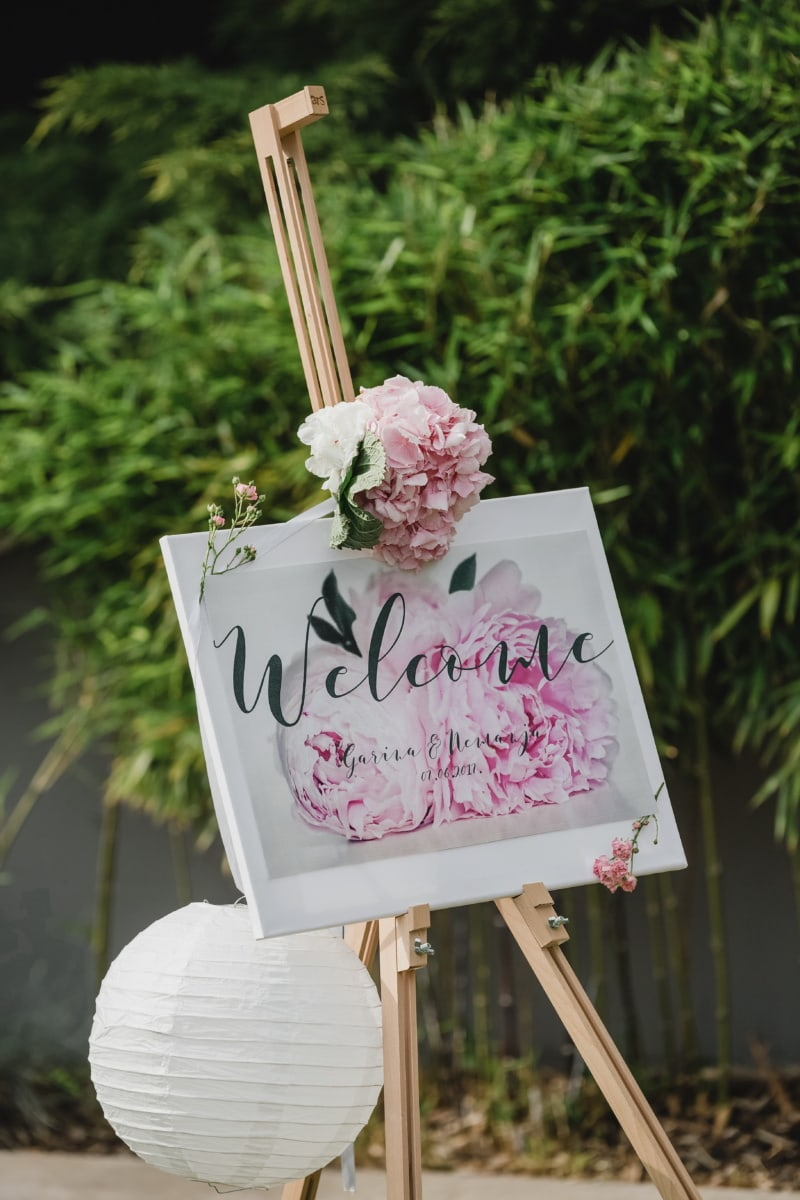 welcome, sign, wedding venue, wedding, romantic, flower, nature, outdoors, summer, leaf