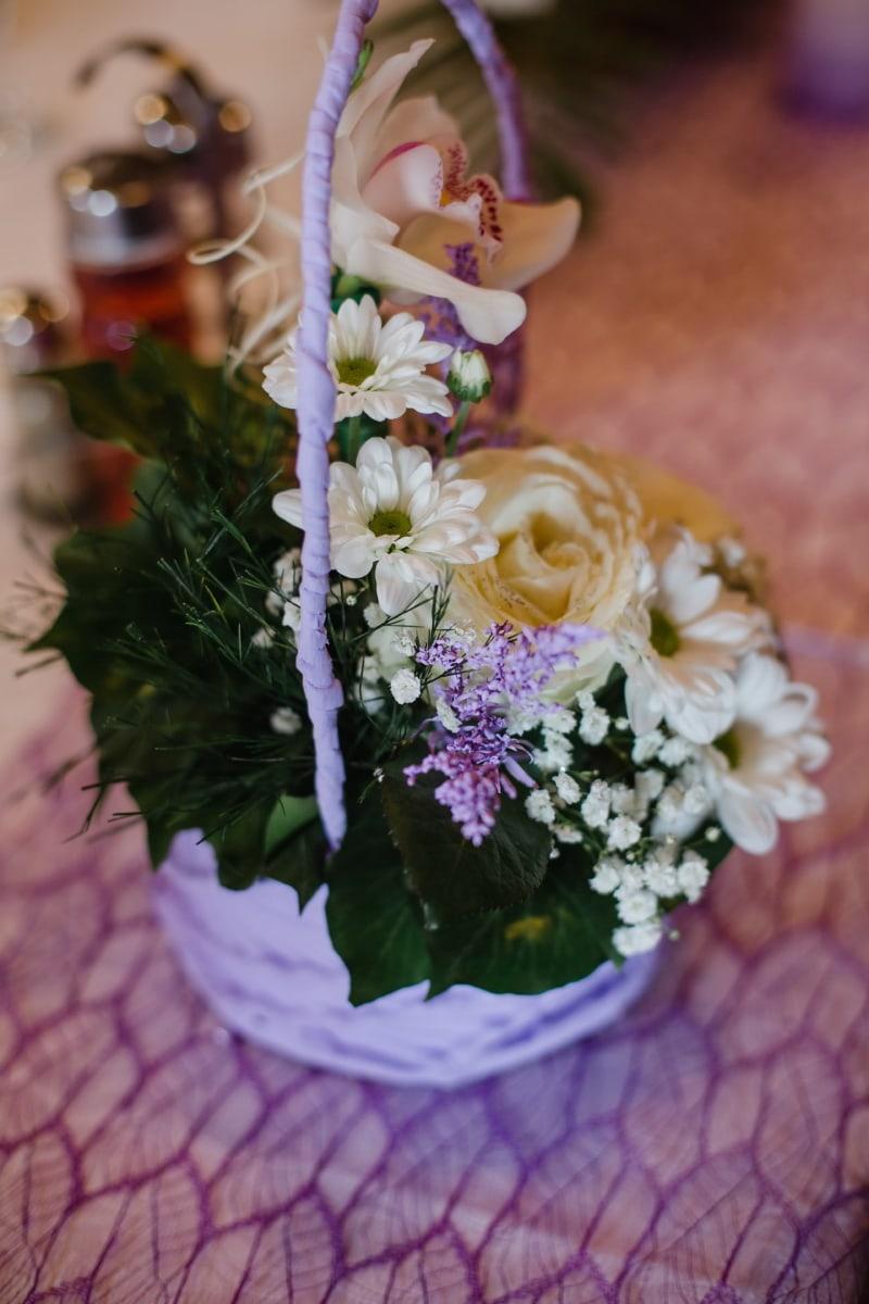 orchid, wicker basket, bouquet, arrangement, white flower, roses, flowers, flower, decoration, rose