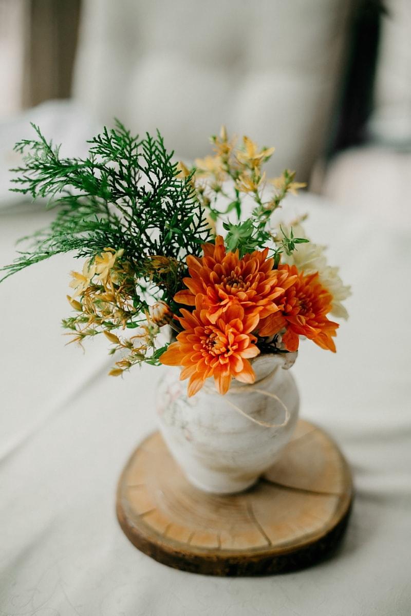 vintage, keramik, vas, stilla liv, bukett, blomma, arrangemang, dekoration, blad, bröllop