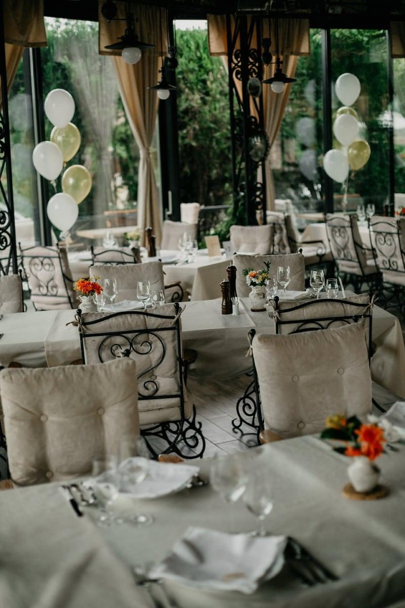 Cafeteria, leere, Tische, Stühle, Essbereich, Besteck, Stuhl, Restaurant, Speise-, Besteck