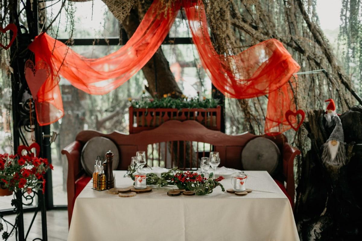 France, restaurant, table à dîner, romantique, salle à manger, amour, La Saint-Valentin, meubles, table, lampe