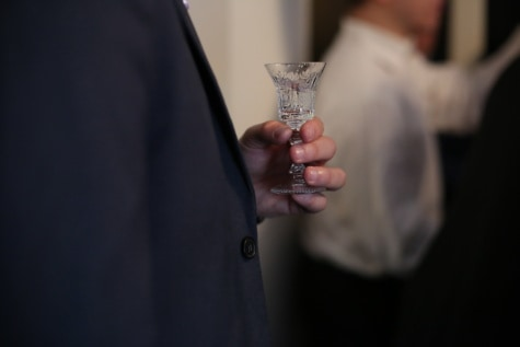 man, holding, crystal, glass, indoors, drink, groom, celebration, portrait, dark