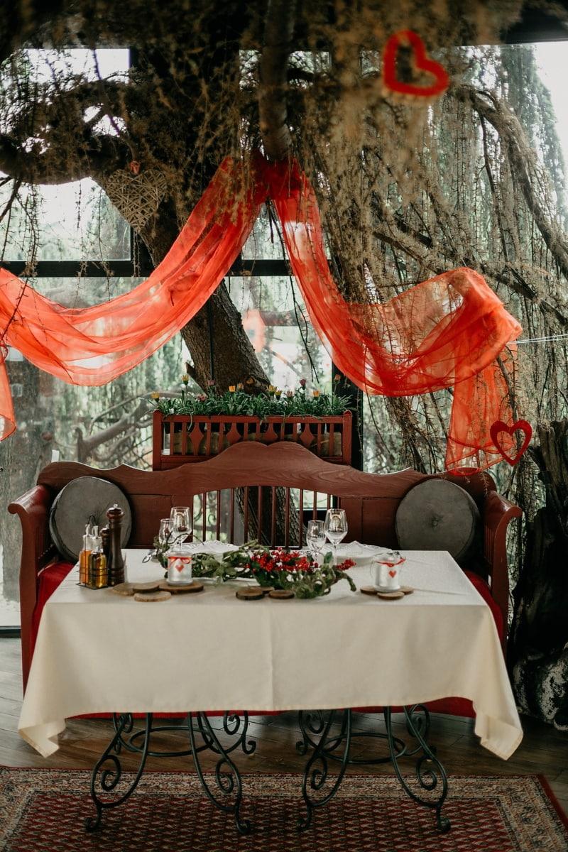 romantické, dekorácie interiéru, srdcia, jedálenský kút, láska, jedáleň, lampa, Stolička, drevo, svetlo