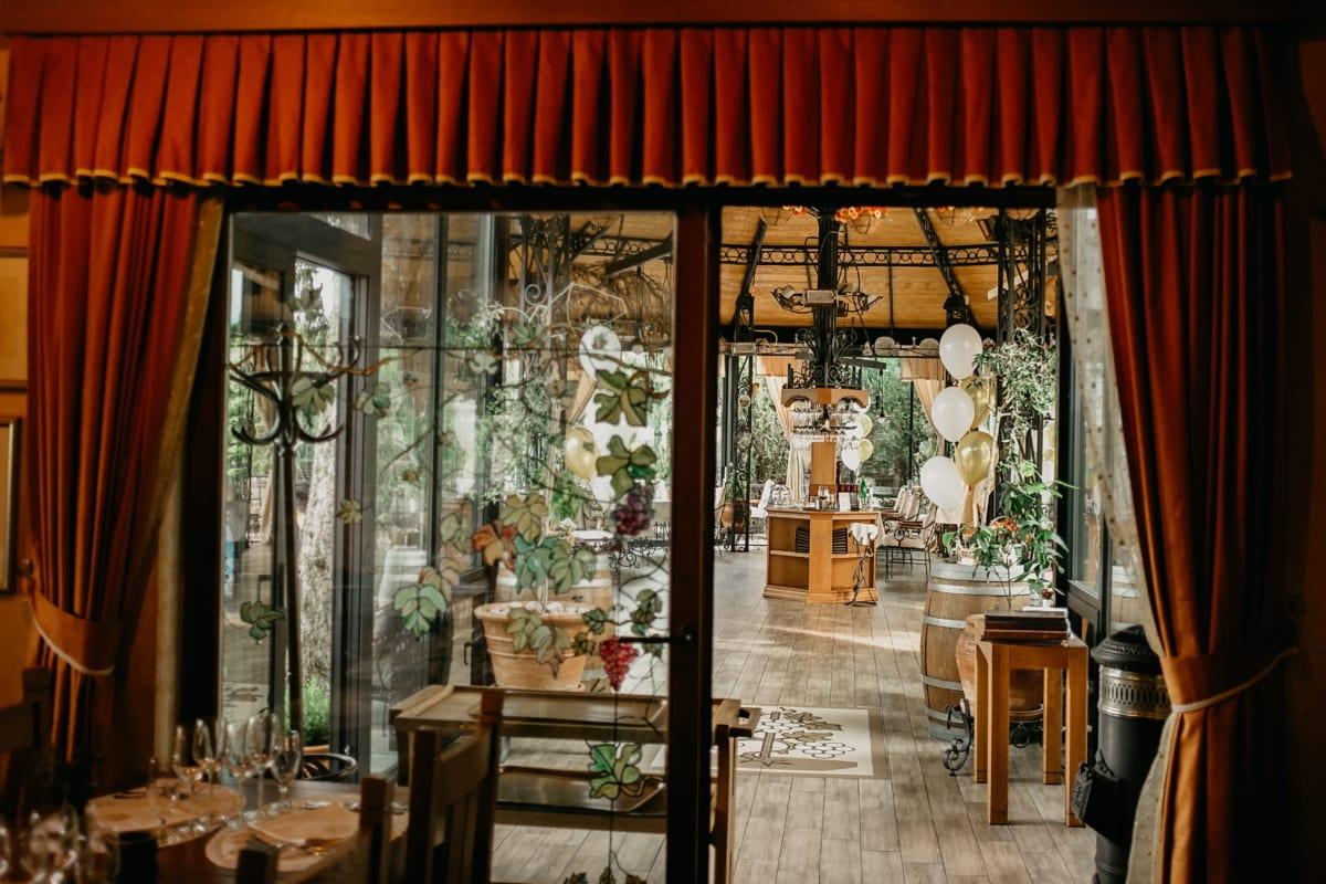 Francouzština, design interiéru, výzdoba interiéru, dům, styl, nábytek, jídelna, sídlo, závěs, uvnitř