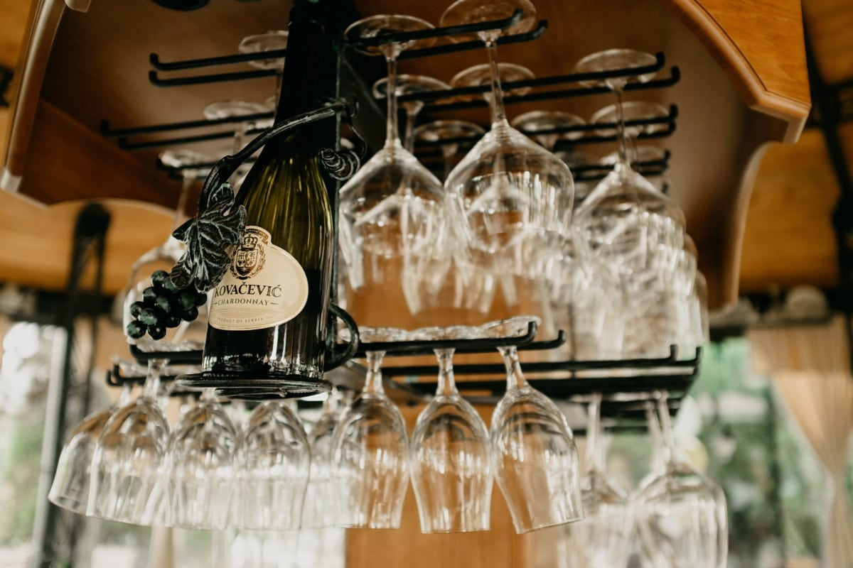 vino tinto, botella, lagar, vidrio, cafetería, restaurante, vino, adentro, lujo, comida