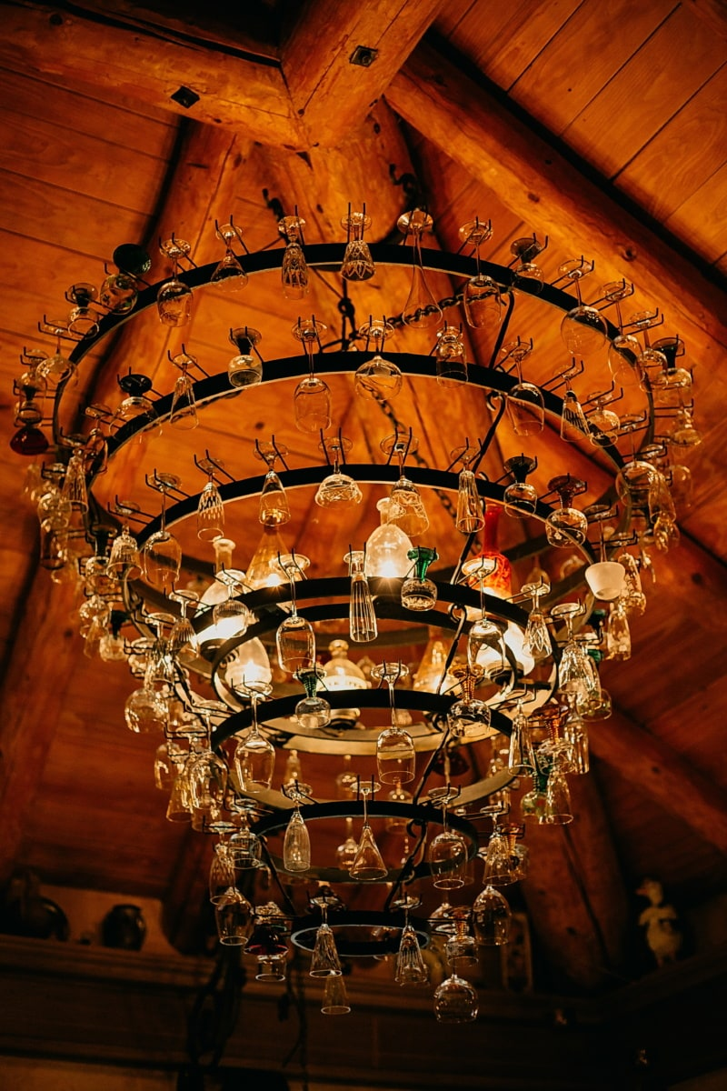 chandelier, unique, ceiling, hanging, glass, handmade, cast iron, architecture, inside, indoors