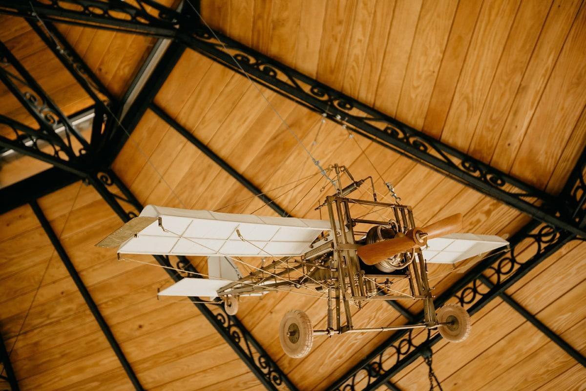 Doppeldecker, Propeller, Flugmotor, Flugzeug, Decke, hängende, Jahrgang, Innendekoration, Holz, drinnen
