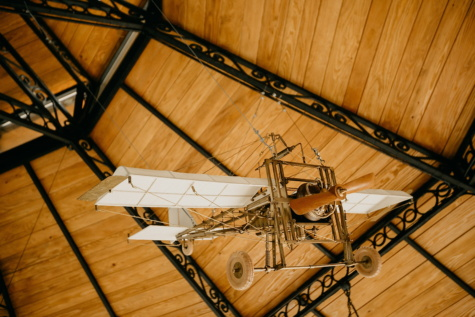 biplane, propeller, aircraft engine, aircraft, ceiling, hanging, vintage, interior decoration, wood, indoors