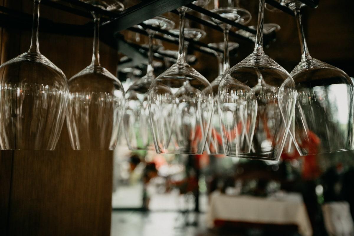 verrerie, verre, crystal, suspendu, vinicole, fermer, cafétéria, transparent, vin, champagne