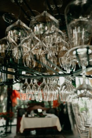 glassware, red wine, glass, hanging, restaurant, bottle, cafeteria, hotel, dining area, dining