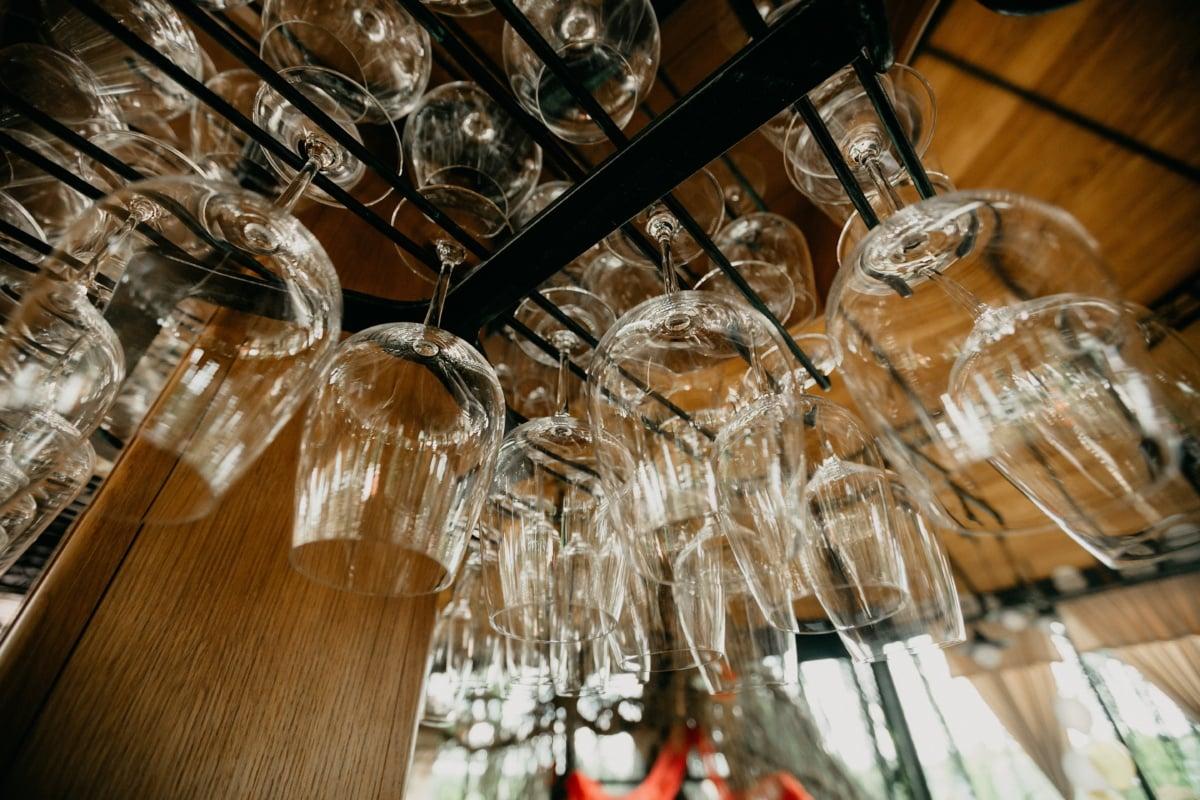 vinicole, verre, suspendu, crystal, à l'intérieur, à l'intérieur, bois, Design d'intérieur, restaurant, vieux