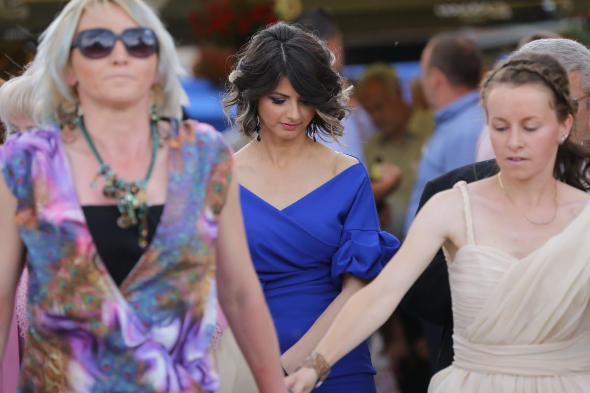 Fuß, Frauen, hübsches mädchen, Kleid, Blau, ziemlich, attraktiv, Frau, Menschen, Mode