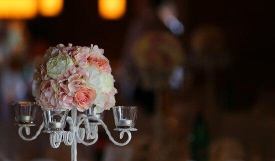 chandelier, bougies, romantique, décoratifs, bouquet, rétro-éclairé, élégant, romance, bougie, mariage