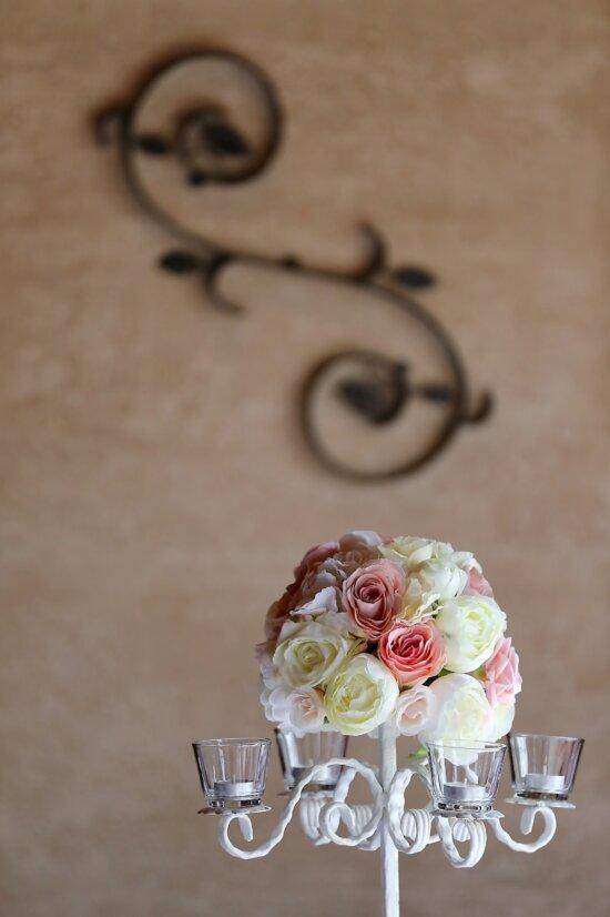 chandelier, bougies, élégant, romantique, bouquet, fer de fonte, vintage, des roses, décoration, conception