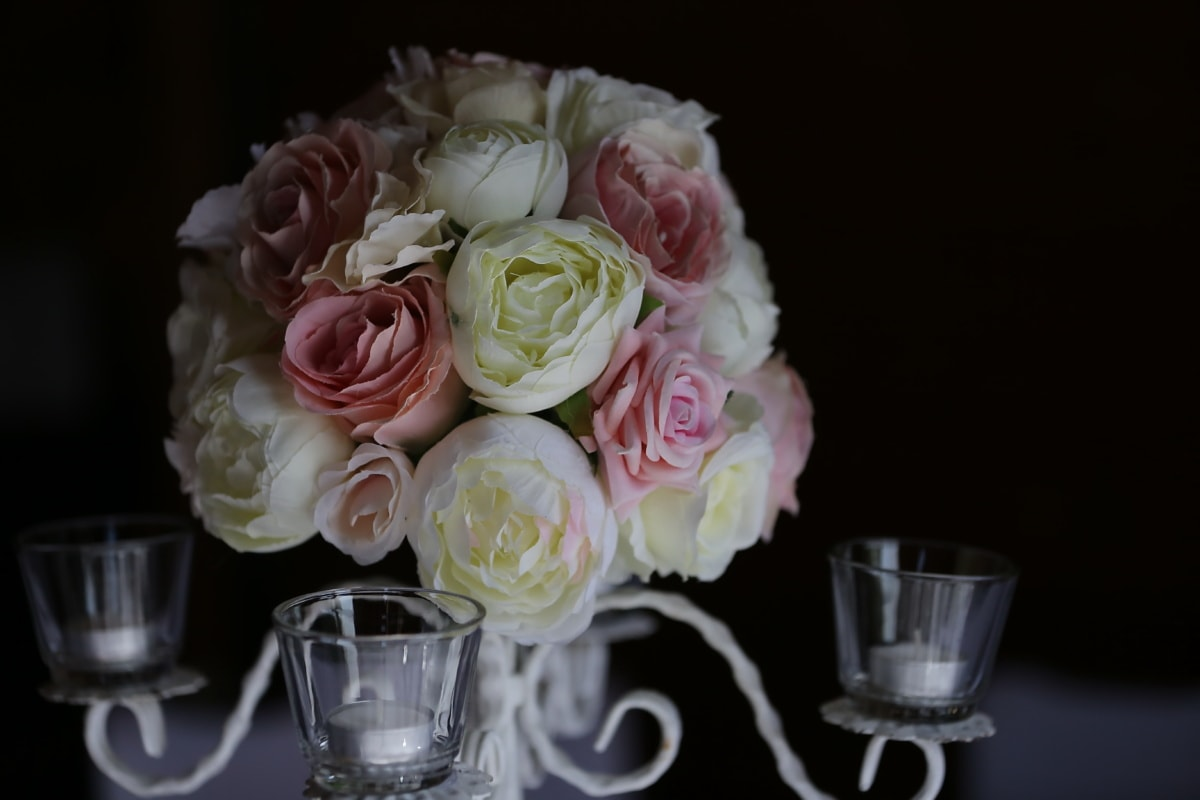 candlestick, glass, candles, bouquet, shadow, roses, flower, rose, romance, romantic