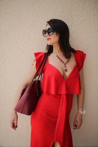 dress, red, sunglasses, fashion, necklace, pretty girl, gorgeous, model, girl, woman