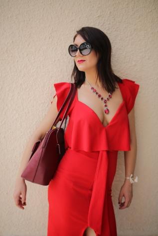 charme, rouge, robe, style, mode, Jolie fille, lunettes de soleil, jeune fille, femme, modèle