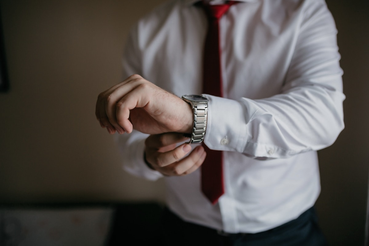 shirt, white, red, tie, hand, man, people, business, indoors, touch